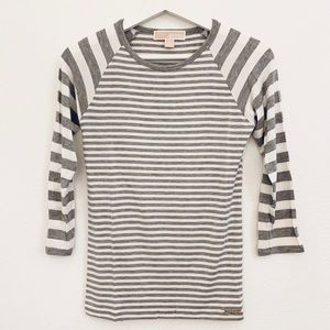 NEW Michael Kors Striped Jersey 3/4 Sleeve T-shirt